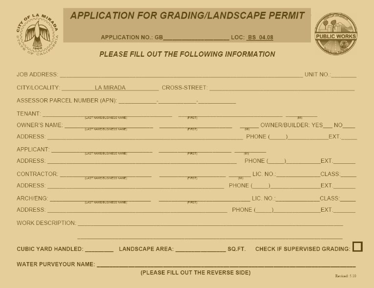Grading/Landscaping Permit