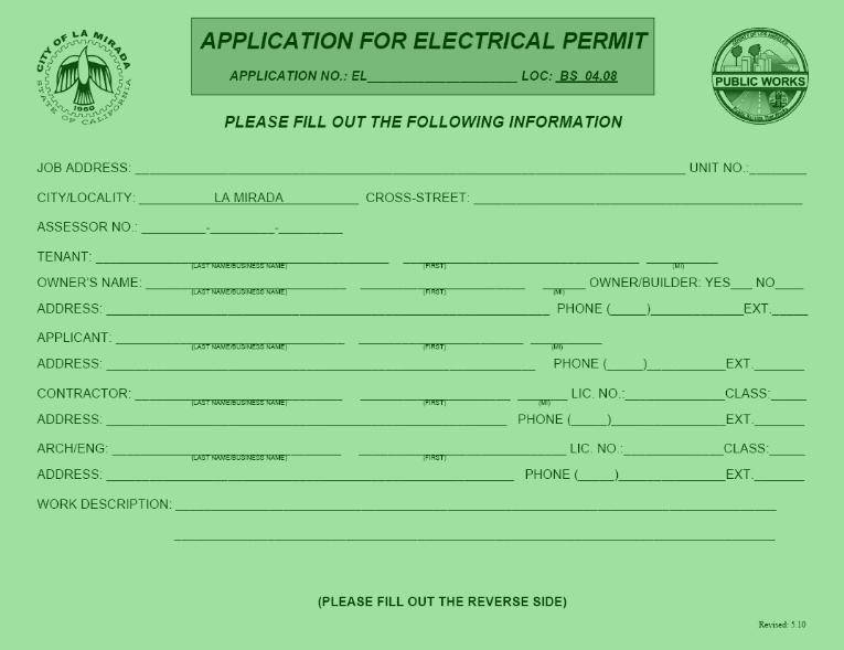 electrical permit application a electrical permit is required to