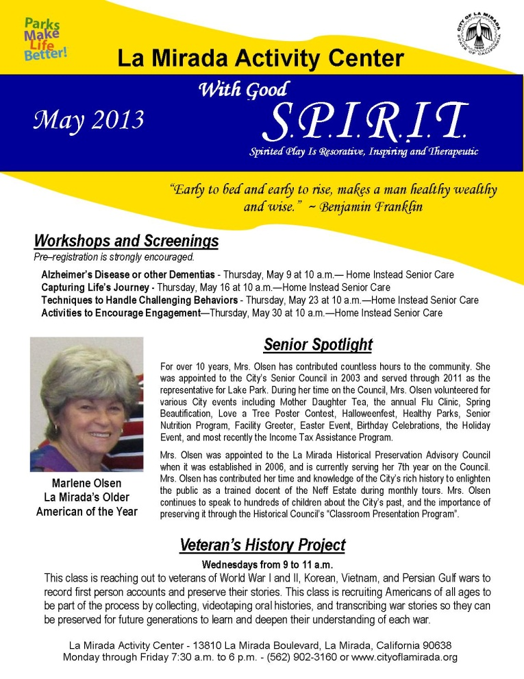 LMAC Monthly Newsletter - April 2013